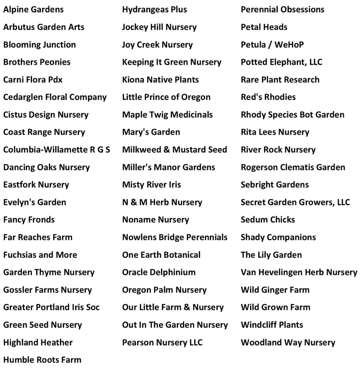 list of 2020 participating nurseries